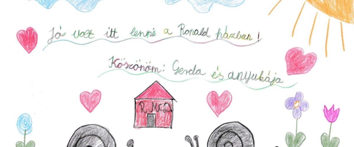 Gerda meg köszöni egy rajzzal, hogy elmehetett a Ronald házba